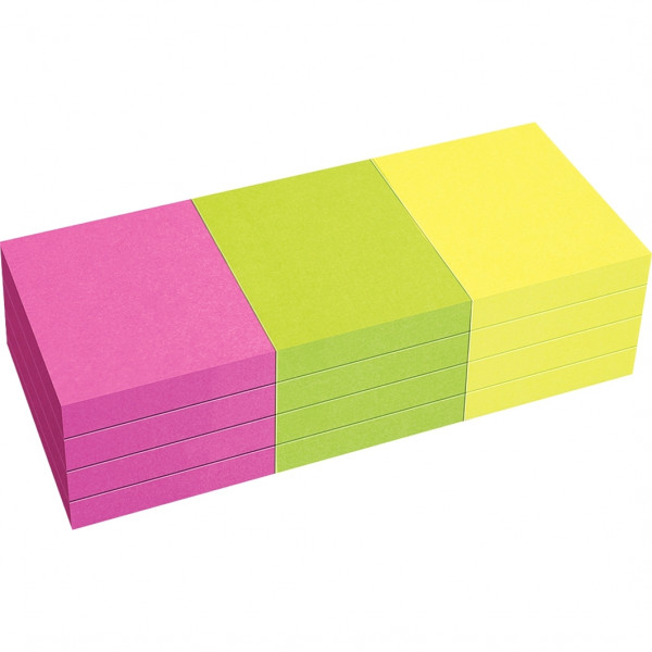 Lot de 12 blocs de notes repositionnables de 80 feuilles 40 x 50 mm couleurs vives assorties. Coloris : jaune