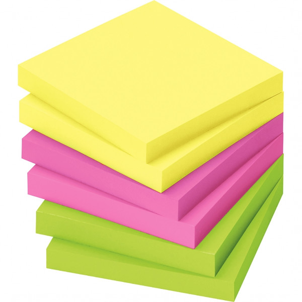 Lot de 12 blocs de notes repositionnables de 80 feuilles 75 x 75 mm couleurs vives assorties. Coloris : jaune