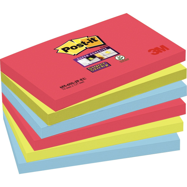 Paquet de 6 blocs de 90 feuilles Super Sticky post-it