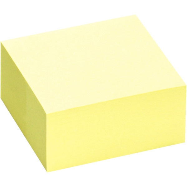 Bloc cube de 400 feuilles de notes repositionnables 75 x 75 mm jaune pastel.