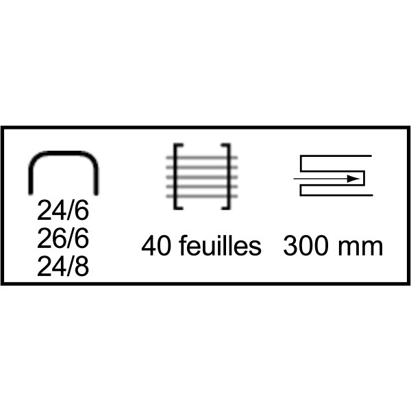 26/6 ou 24/8 (40 feuilles de 4mm). Technologie Direct