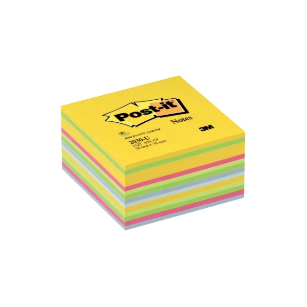Cube de 450 feuilles de notes post-it repositionnables 76 x 76 mm couleurs assorties. Bloc encollé.